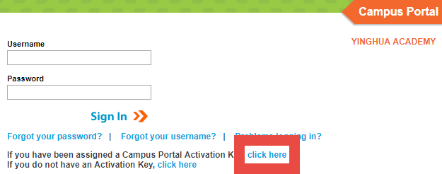 how do i get a activation key for infinity campus